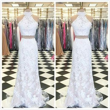 Elegant White Trumpet/Mermaid Sleeveless Natural Waist Prom Dresses 2019 Floor-length