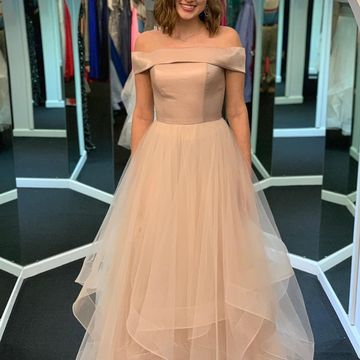 Pink Skin Pink A-line Short Sleeves Natural Waist Tiers Prom Dresses 2019 Floor-length