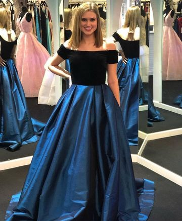 dad329b2583 Simple A-line Short Sleeves Natural Waist Prom Dresses 2019 Sweep/Brush  Train Off-the-Shoulder