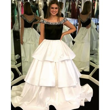 Black and White Natural Waist Tiers Beading Prom Dresses 2020 Floor-length Scoop Satin
