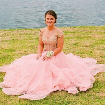 5a953e59b6 49%OFF Pink Pearl Pink A-line Tiers Appliques Beading Prom Dresses ...