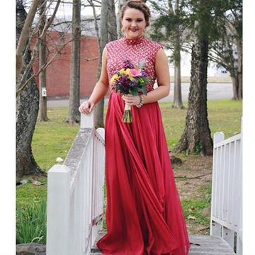 Red A-line Sleeveless Natural Waist Beading Prom Dresses 2020 Floor-length