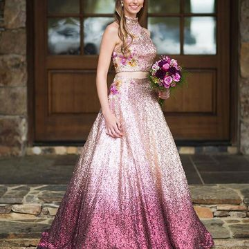 Pink Sleeveless Sequins Prom Dresses 2020 Floor-length High Neck