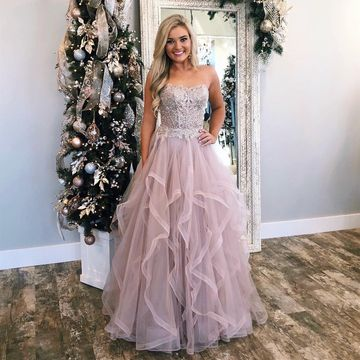 Pink Pearl Pink A-line Sleeveless Natural Waist Tiers Appliques Beading Prom Dresses 2019 Floor-length