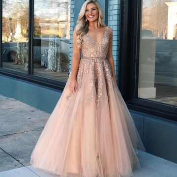 Pink Nude A-line Sleeveless Natural Waist Appliques Prom Dresses 2019 Floor-length