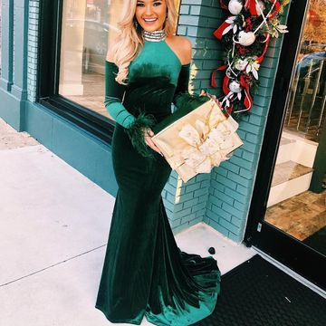 Blue Trumpet/Mermaid Long Sleeves Natural Waist Prom Dresses 2019 Sweep/Brush Train Off-the-Shoulder High Neck