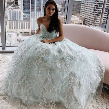 Blue Light Sky Blue A-line Sleeveless Natural Waist Prom Dresses 2020 Floor-length Spaghetti Straps