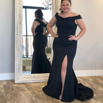 Simple Plus Size Black Trumpet/Mermaid Natural Waist Split Prom Dresses 2019 Sweep/Brush Train