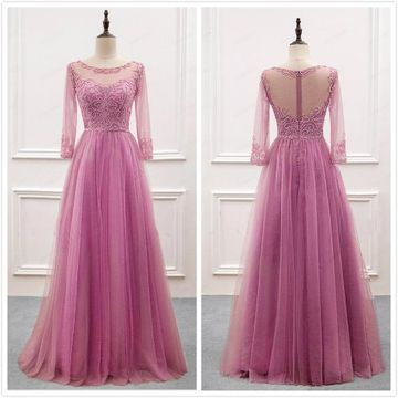 Elegant Formal Gorgeous A-line Long Sleeves Natural Waist Beading Prom Dresses 2019 Floor-length