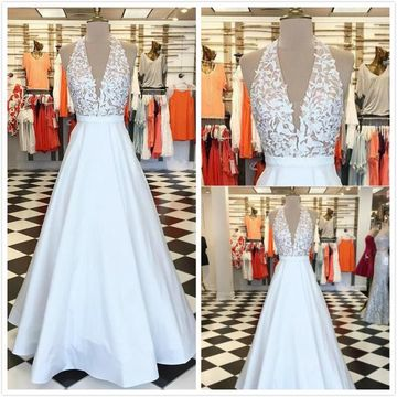 Elegant White A-line Sleeveless Natural Waist Prom Dresses 2019 Floor-length