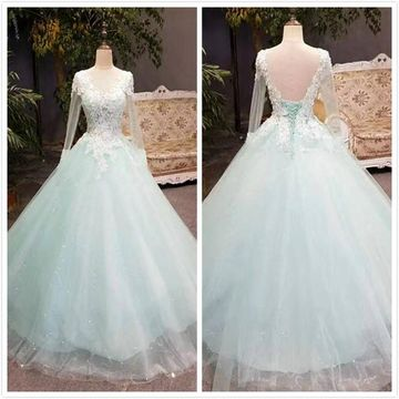 Princess Gorgeous Mint A-line Long Sleeves Natural Waist Beading Appliques Prom Dresses 2020