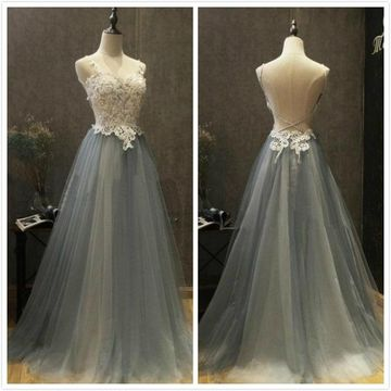 Formal Gorgeous Gray A-line Sleeveless Natural Waist Appliques Prom Dresses 2020