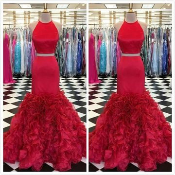 Gorgeous Red Trumpet/Mermaid Sleeveless Natural Waist Prom Dresses 2019 Floor-length