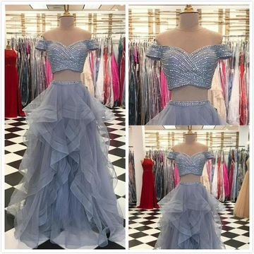 Elegant Formal Gorgeous Gray A-line Cap Sleeves Natural Waist Sequins Prom Dresses 2019