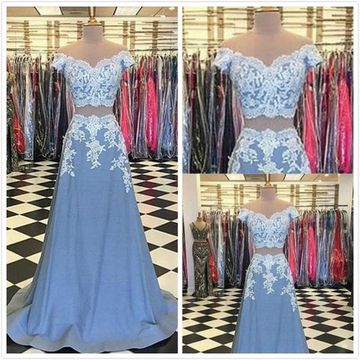 Formal Gorgeous Blue A-line Short Sleeves Sleeveless Natural Waist Appliques Prom Dresses 2019