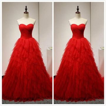 Elegant Red A-line Sleeveless Natural Waist Prom Dresses 2019 Sweep/Brush Train