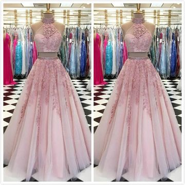Elegant Gorgeous Pink A-line Sleeveless Natural Waist Beading Appliques Prom Dresses 2019