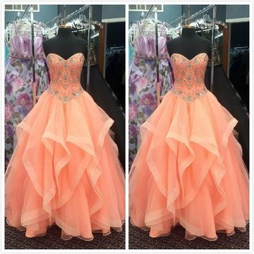 Princess Formal Orange Ball Gown Sleeveless Natural Waist Beading Ruched Prom Dresses 2019