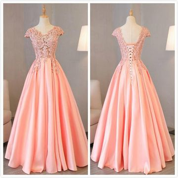 Elegant Formal Gorgeous Pink A-line Cap Sleeves Natural Waist Beading Sequins Ruched Prom Dresses 2019