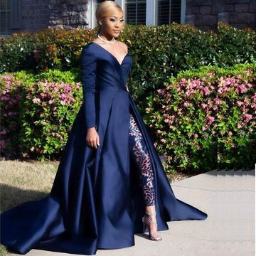 a6e2dae1 Gorgeous African A-line Long Sleeves Natural Waist Split Prom Dresses 2019