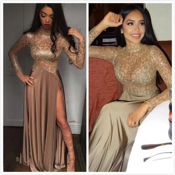 Sexy Beige/Champagne A-line Long Sleeves Natural Waist Sequins Split Prom Dresses 2019