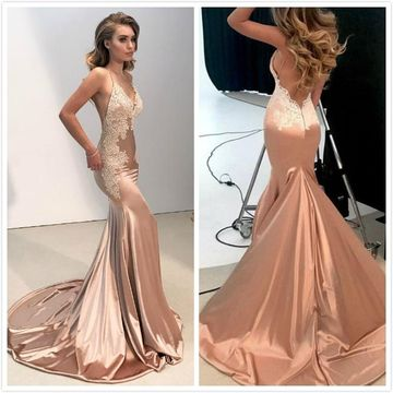 Elegant Sexy Pink Trumpet/Mermaid Sleeveless Appliques Prom Dresses 2019 Court Train