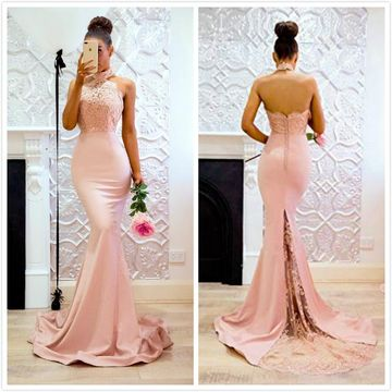 Elegant Formal Gorgeous Pink Trumpet/Mermaid Sleeveless Natural Waist Prom Dresses 2019 Sweep/Brush Train