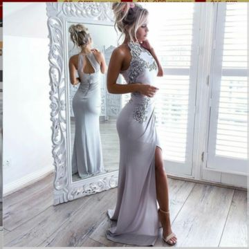 Formal Gorgeous Gray Trumpet/Mermaid Sleeveless Appliques Split Prom Dresses 2019 Floor-length