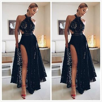 Elegant Sexy Black A-line Sleeveless Natural Waist Split Prom Dresses 2019