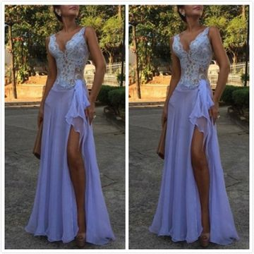 Sexy Lavender A-line Sleeveless Beading Prom Dresses 2019 Floor-length