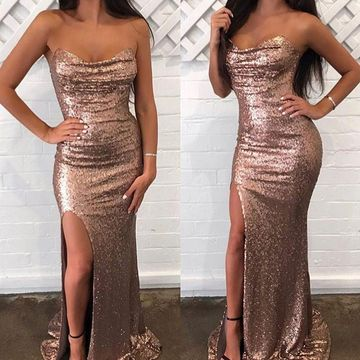 49%OFF Petite Rose Gold Gold Sheath Sleeveless Sequins Split