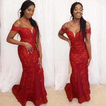 Sexy African Petite Red Trumpet/Mermaid Natural Waist Appliques Prom Dresses 2020 Sweep/Brush Train