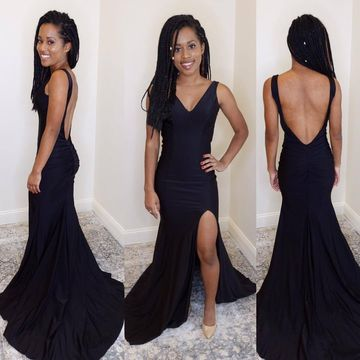 Simple Sexy Petite Black Trumpet/Mermaid Sleeveless Natural Waist Split Prom Dresses 2019