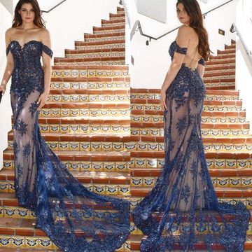 Sexy Blue Dark Navy Trumpet/Mermaid Natural Waist Appliques Prom Dresses 2019 Sweep/Brush Train