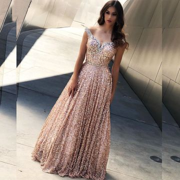 Gold A-line Sleeveless Natural Waist Beading Sequins Prom Dresses 2019 Floor-length