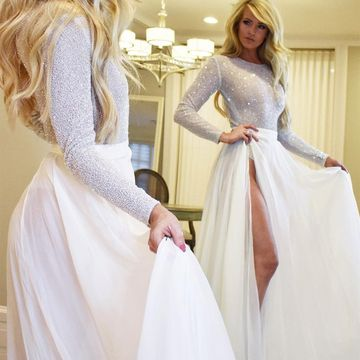 Sexy White A-line Long Sleeves Natural Waist Beading Split Prom Dresses 2019