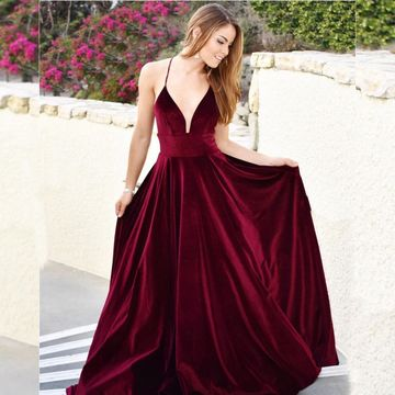 6fa18c0cd8a1 49%OFF Simple Red Burgundy A-line Natural Waist Prom Dresses 2019 ...