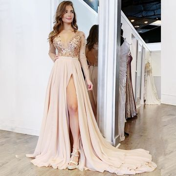 Sexy Pink Pearl Pink A-line Long Sleeves Natural Waist Beading Split Prom Dresses 2019
