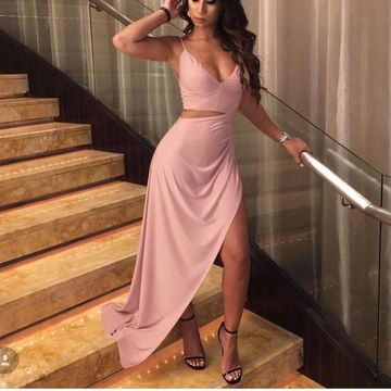 Simple Sexy Petite Pink Sheath Sleeveless Natural Waist Split Prom Dresses 2019