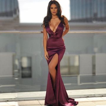 Simple Sexy Red Burgundy Trumpet/Mermaid Sleeveless Natural Waist Split Prom Dresses 2019