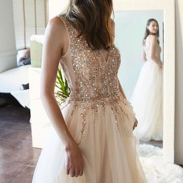 Beige/Champagne A-line Sleeveless Natural Waist Beading Split Prom Dresses 2019 Floor-length
