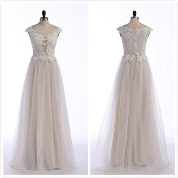 Elegant Formal Gorgeous Ivory A-line Cap Sleeves Prom Dresses 2020 Floor-length Round Neck