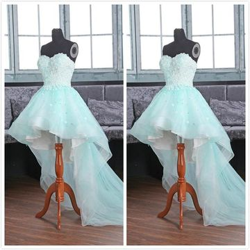 Cute Princess Sexy Ice Blue Sleeveless Appliques Prom Dresses 2019 Asymmetrical Sweetheart