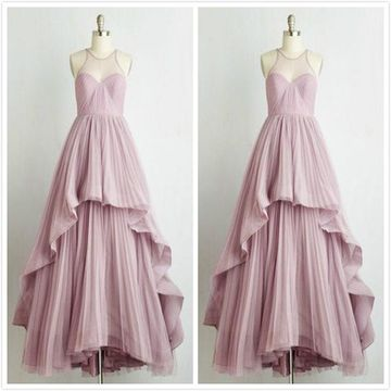 Simple Formal Lavender A-line Sleeveless Prom Dresses 2020 Floor-length Round Neck