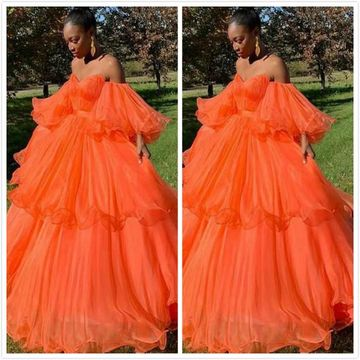 Formal Orange Ball Gown A-line Long Sleeves Ruffles Prom Dresses 2019 Sweetheart Off-the-Shoulder