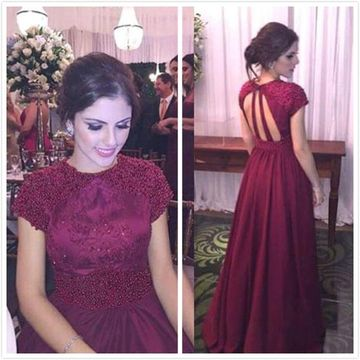Formal Gorgeous Burgundy A-line Short Sleeves Buttons Beading Appliques Prom Dresses 2019 Floor-length