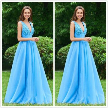 Simple Elegant Formal Blue A-line Sleeveless Appliques Ruched Prom Dresses 2020 Floor-length