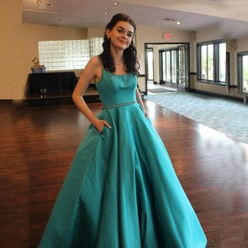 Simple Blue A-line Natural Waist Beading Pockets Prom Dresses 2020 Floor-length