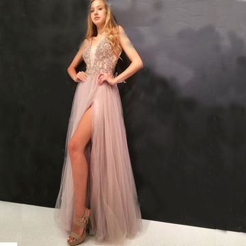 Pink Pearl Pink A-line Sleeveless Natural Waist Beading Split Prom Dresses 2020 Floor-length