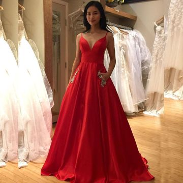 Simple Red A-line Natural Waist Beading Pockets Prom Dresses 2019 Sweep/Brush Train